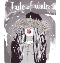 young winter woman vector image vector image