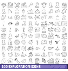 100 exploration icons set outline style vector