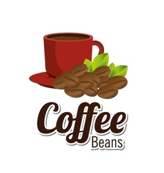 Coffee beans cup red graphic vector
