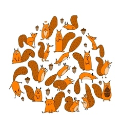 Funny squirrel with nut collection for your vector