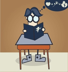 nerd boy learn to get the girl vector image
