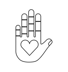 hand human with heart vector image