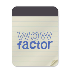 Wow factor lettering notebook vector