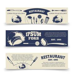 Vintage restaurant horizontal banners template vector