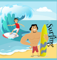 Surfing water extreme sports isolated design vector