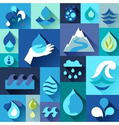 Background with water icons in flat design style vector image