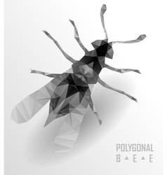 Polygonal bee flying vector