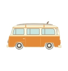 Camper van with surf board vector