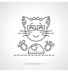 Cheerful cat flat line icon vector