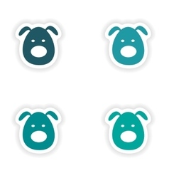 Assembly realistic sticker design on paper dogs vector