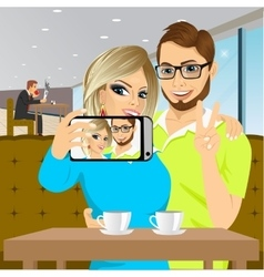 Couple taking selfie photo together vector