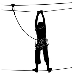 In adventure park rope ladder vector