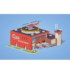Low poly fire station vector