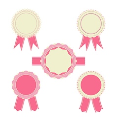 Retro pink color set of ribbon banner badges vector