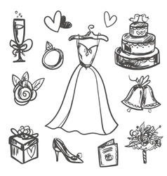 Hand drawn set of wedding accessories vector