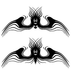 Halloween monsters with wings tattoo isolated vector