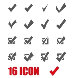 Grey confirm icon set vector