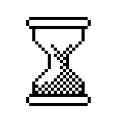 Black outline pixelated hourglass pc vector