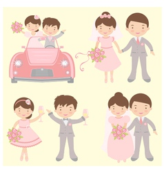 brides grooms set vector image