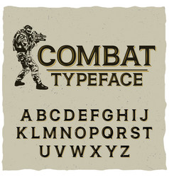 combat typeface poster vector image