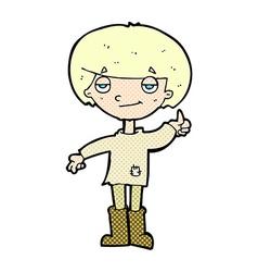Comic cartoon boy in poor clothing giving thumbs vector