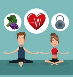 Couple yoga exercise food healthy vector