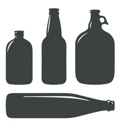 Craft beer bottles vintage brewery bottles sign vector