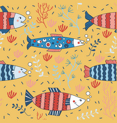 cute seamless pattern wallpaper fish anchovy vector image vector image