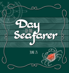 day of the seafarer greeting card vector image vector image