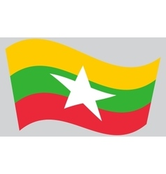 Flag of myanmar waving vector