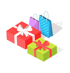 gift boxes and shopping bags isolated vector image
