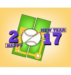 Happy new year 2017 and baseball vector