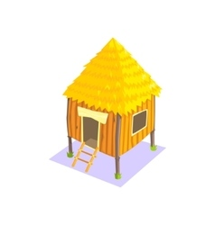 Little elevated wooden hut jungle village vector