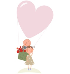 Love in hot air balloon vector image vector image