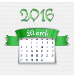 March 2016 calendar template vector image
