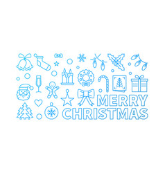 merry christmas blue linear horizontal vector image