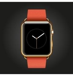 Modern shiny 18-karat yellow gold smart watches vector