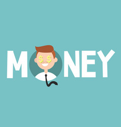 Money sign concept young successful business man vector