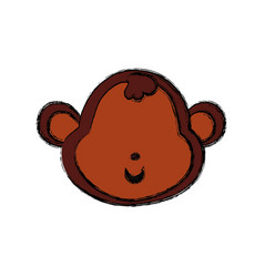 monkey cartoon drawing head faceless vector image vector image