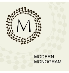 Monogram emblem logo with a wreath spiral vector