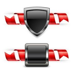 ribbon shield banner vector image vector image