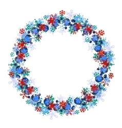Round frame with different blue snowflakes vector image vector image
