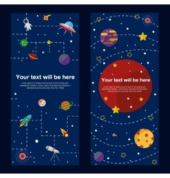 Space theme banners and cards with flat astronomic vector image