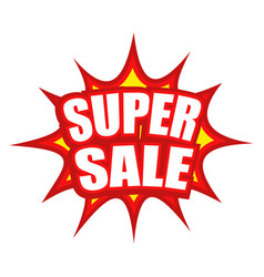 super sale text with comic splash icon vector image