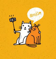 Two cats making photo using selfie stick funny vector