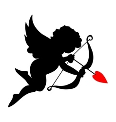 valentine cupid icon with arrow and wings vector image