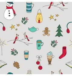 Winter doodles hand drawn seamless pattern vector image