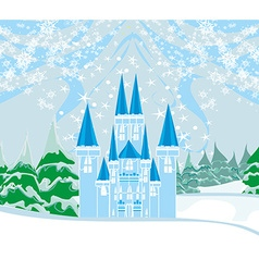 Winter landscape with castle vector