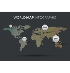 World Map colorful Dot infographics vector image vector image