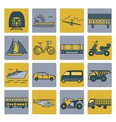 Transportation icon set thin line design vector
